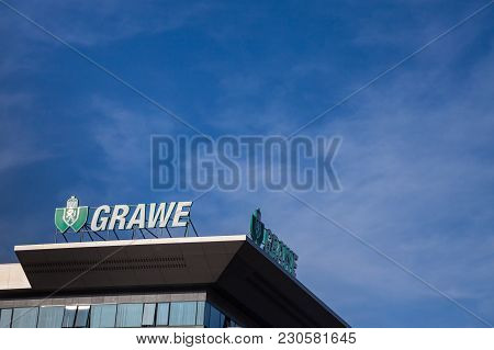 Belgrade, Serbia - March 9, 2018: Grawe Logo On Their Main Office For Serbia. Grawe, Or Grazer Wechs