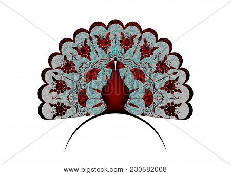 Peacock Icon Silhouette Luxury Tail Decorated. Logo Design Vector Template Linear Style. Outline Bir