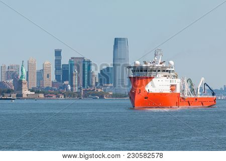 New York, Nyc, Usa- August 26, 2017: Ariadne, Multi Purpose Offshore Vessel On The Hudson River. In