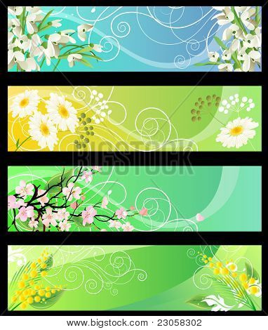Four different beautiful spring floral banners