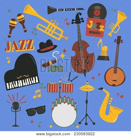 Jazz Musical Vector Instruments Tools Piano And Saxophone Music Sound Illustration Of Jazzband Rock