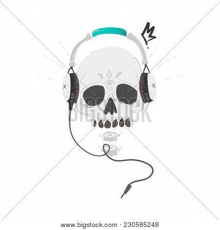 Human Skull With Tattoos Wearing Headphone, Earphones, Rock Music, Heavy Metal Icon, Sign, Symbol, V