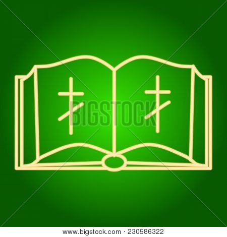 Icon Open Bible With Christian Cross. Easter. Neon Icon. Neon Sign. Effect Of Neon Glow. Vector Imag