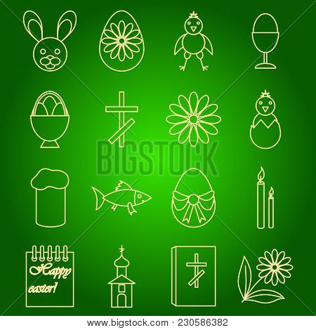 A Set Of Icons Of Easter Symbols Of A Rabbit, A Chicken, An Egg, A Christian Cross, A Church, A Fish