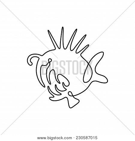 Vector Continuous Line Drawing Fish. Fish Logo. Predator Angler Logotype. One Line Art Design