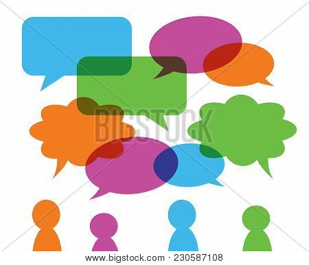 Set Of Colorful Transparent Speech Bubbles Various Shape, Green Orange Blue Pink And Group Of Stylis