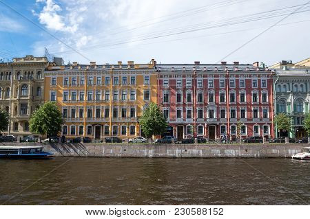 Saint- Petersburg, Russia - July 10, 2016: View Of The Embankment Of Moyka River In The Historical C