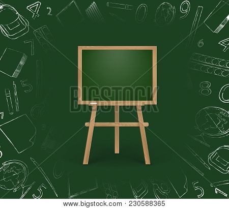 Vector Illustration Of Chalkboard For Children With Space For Text. Isolated On Green Background Wit