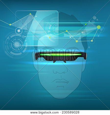 Vector Optical Head-mounted Display Or Virtual Reality Glasses On Line Art Human Head With Futuristi