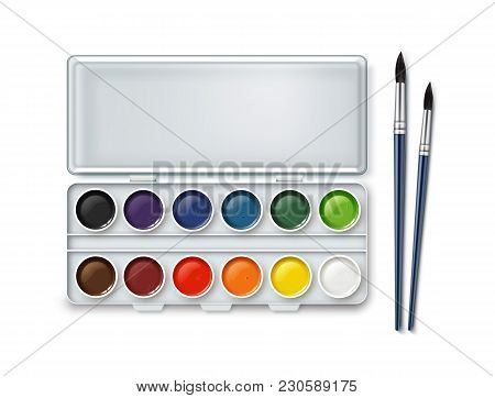Vector Set Of Watercolor In Case With Two Paintbrushes. Isolated On White Background