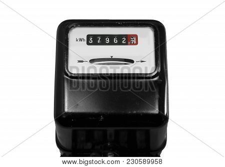 Analog Current Meter On A White Background