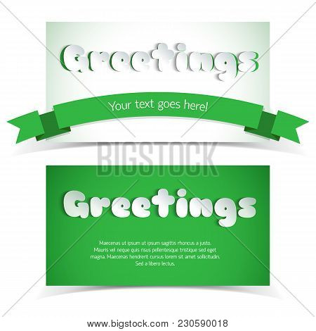 Two Green And White Greeting Cards In Paper Style With Ribbon And Place For Text Flat Vector Illustr