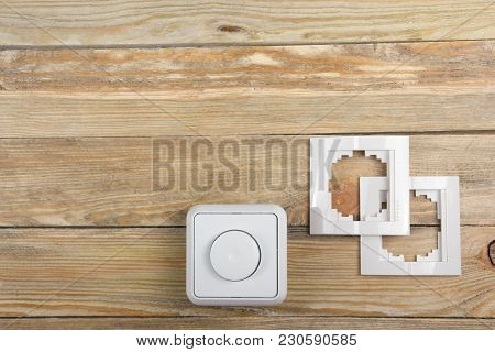 Professional Repairing Implements For Decorating And Building Renovation Set In The Wooden Backgroun