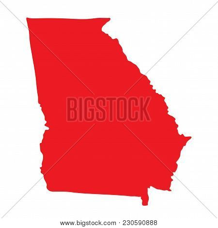Georgia Vector Map Icon. State Of Georgia Map Contour Outline Silhouette.