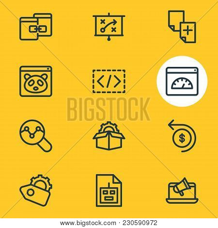 Vector Illustration Of 12 Advertising Icons Line Style. Editable Set Of Press Release, Game Developi