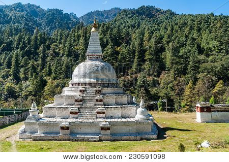 Chendebji Chorten - Eastern Bhutan. The Chorten Is Situated At The Point Where The Three Ridges And
