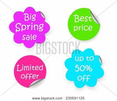 Spring Sale Discount Flower Shape And Circle Sticker With Curled Corner, Marketing Promotion Set Of