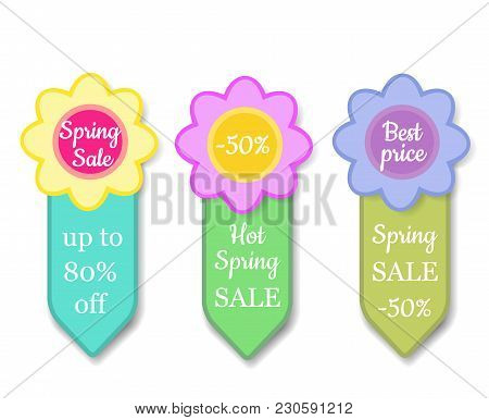 Set Of Colorful Spring Sales Labels - Price Tag With Flower Shape Sticker With Percent Discount Text