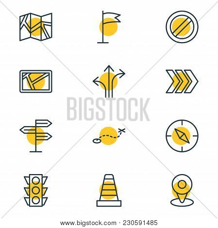 Illustration Of 12 Location Icons Line Style. Editable Set Of Signpost, Arrow, Guidepost And Other I