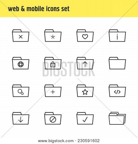 Illustration Of 16 Folder Icons Line Style. Editable Set Of Checked, Important, Shared And Other Ico
