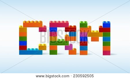 The Inscription Crm From The Blocks Of The Constructor. A Word From The Constructor. Multicolored Wo
