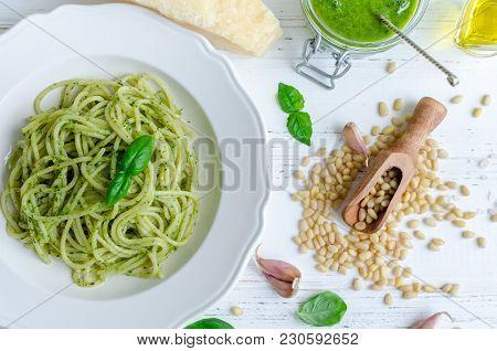 Spaghetti With Homemade Pesto Sauce On White Wooden Table. Pasta With Pesto Alla Genovese. Italian C