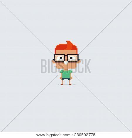 Pixel Art Clever School Boy In Big Glasses