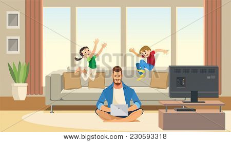 Children Play And Jump On Sofa Behind Working Business Father. Work Life Balance Concept With Fun Ca