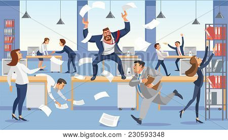Angry Boss Shout In Chaos Office Because Of Failure Deadline. Stressed Vector Cartoon Characters.