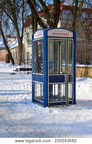 Vilnius, Lithuania - 04 March 2018: Telephone Booth In Vilnius Street. At Present, Only A Few Public