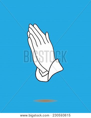 Vector Illustration Of Praying Hands Icon Isolated On Blue Background