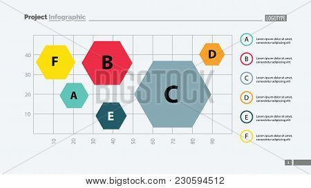 Six Hexagons On Chart Template. Business Data. Graph, Chart, Design. Creative Concept For Infographi