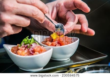 The Chef In The Kitchen Prepares  Food.food Detail