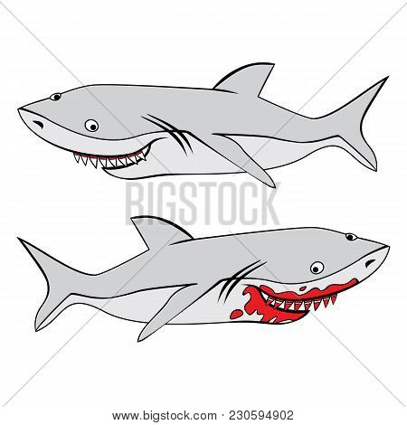Vector Image Of Two Grey Funny Sharks. One Shark With Bloody Teeth.