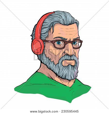 The Old Hipster In Headphones And Eyepieces Is Listening To Music. Vector Illustration In Ink Style.
