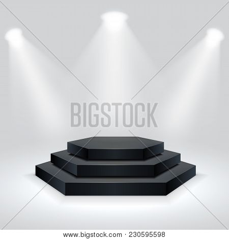 Hexagon Podium Illuminated By Spotlights. Empty Ceremony Pedestal. Vector Illustration