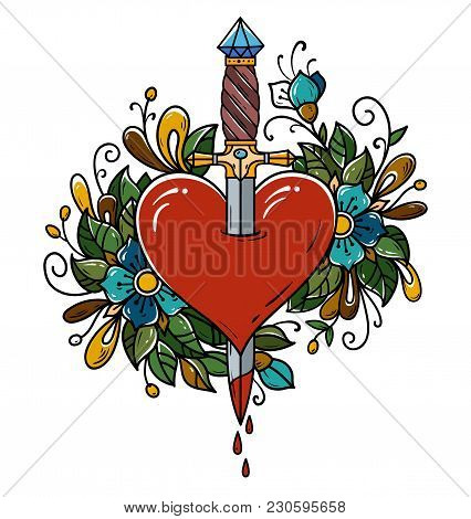 Red Heart Decorated With Flowers Pierced With Dagger. Tatoo Dagger Piercing Heart With Dripping Bloo