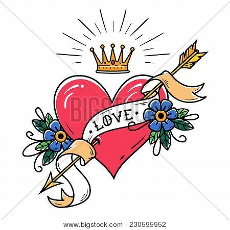 Tattoo Heart Pierced By Arrow With Gold Ribbon, Flowers And Radiant Gold Crown. Old School Tattoo. L
