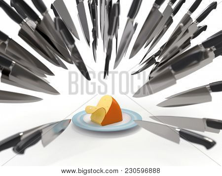 competitive fight, knives attack a cheese, 3d illustration