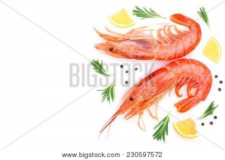 Red Cooked Prawn Or Shrimp With Rosemary And Lemon Isolated On White Background With Copy Space For