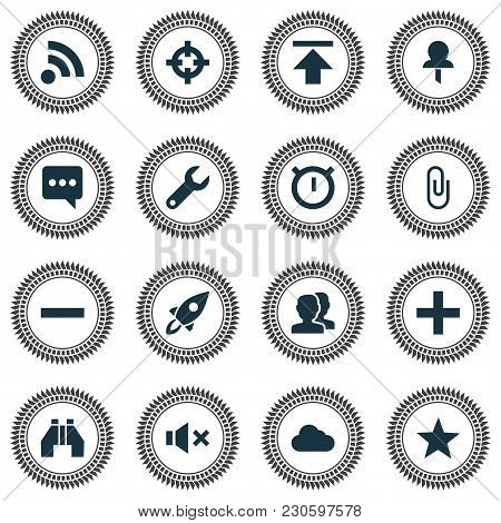 User Icons Set With Favorite, Cloud, Group And Other Second Meter Elements. Isolated Vector Illustra