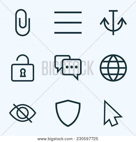 Interface Icons Line Style Set With Pin, Shield, Armature And Other Anchor Elements. Isolated Vector