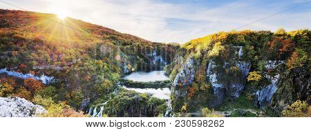 View Of The Beautiful Waterfalls In The Sunshine In Plitvice National Park, Croatia