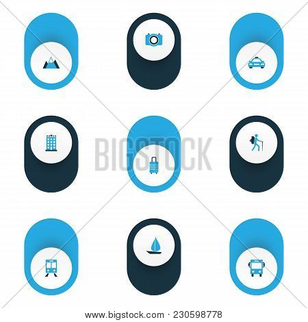 Exploration Icons Colored Set With Landscape, Railway Carriage, Traveler Baggage Elements. Isolated
