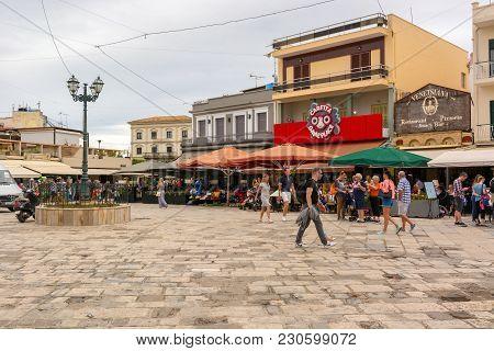 Zakynthos, Greece - September 29, 2017: Tourist Visit Saint Markos Square In Zante Town. Zakynthos I