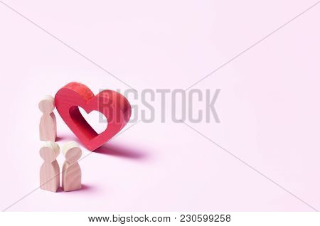 A Man Stands Near The Heart And Confesses Love On A Pink Background. Broken Dreams And Hopes, Insepa