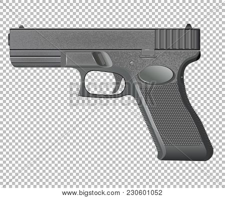 Pistol Gray Automatic Isolated On Background Vector