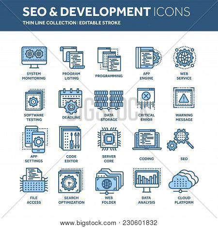 Seo And App Development. Search Engine Optimization. Internet, E-commerce.thin Line Blue Web Icon Se