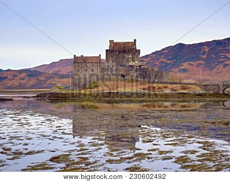 Tides In The Lake At Old Castle, Scotland. The Popular Stony Bridge Over The Remnants Of Water With