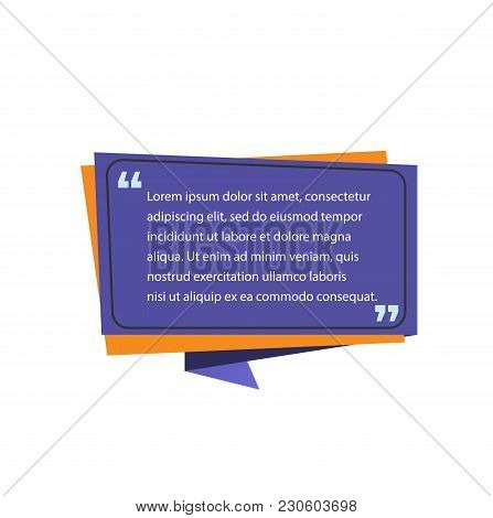 Quote Template On Speech Bubble. Quote Design Element. Typed Text, Calligraphy. For Posters, Banners